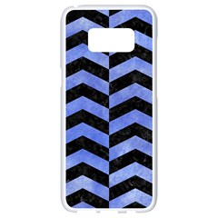 Chevron2 Black Marble & Blue Watercolor Samsung Galaxy S8 White Seamless Case by trendistuff