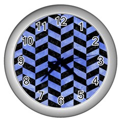 Chevron1 Black Marble & Blue Watercolor Wall Clock (silver) by trendistuff