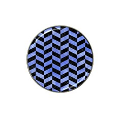 Chevron1 Black Marble & Blue Watercolor Hat Clip Ball Marker (4 Pack) by trendistuff