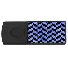 Chevron1 Black Marble & Blue Watercolor Usb Flash Drive Rectangular (4 Gb) by trendistuff