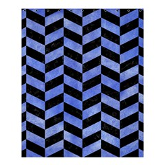 Chevron1 Black Marble & Blue Watercolor Shower Curtain 60  X 72  (medium) by trendistuff