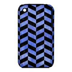 Chevron1 Black Marble & Blue Watercolor Apple Iphone 3g/3gs Hardshell Case (pc+silicone) by trendistuff