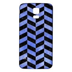 Chevron1 Black Marble & Blue Watercolor Samsung Galaxy S5 Back Case (white) by trendistuff