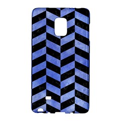 Chevron1 Black Marble & Blue Watercolor Samsung Galaxy Note Edge Hardshell Case by trendistuff