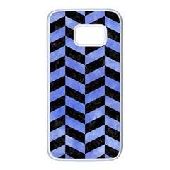 Chevron1 Black Marble & Blue Watercolor Samsung Galaxy S7 White Seamless Case by trendistuff