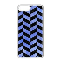 Chevron1 Black Marble & Blue Watercolor Apple Iphone 7 Plus White Seamless Case
