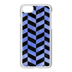 Chevron1 Black Marble & Blue Watercolor Apple Iphone 7 Seamless Case (white) by trendistuff