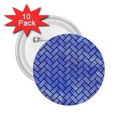 Brick2 Black Marble & Blue Watercolor (r) 2 25  Button (10 Pack) by trendistuff