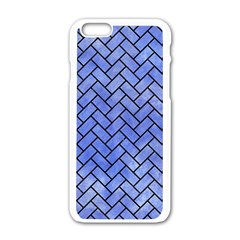 Brick2 Black Marble & Blue Watercolor (r) Apple Iphone 6/6s White Enamel Case by trendistuff