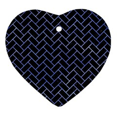 Brick2 Black Marble & Blue Watercolor Ornament (heart) by trendistuff
