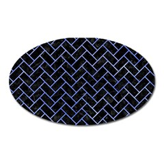 Brick2 Black Marble & Blue Watercolor Magnet (oval) by trendistuff