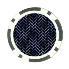 Brick2 Black Marble & Blue Watercolor Poker Chip Card Guard by trendistuff