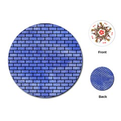 Brick1 Black Marble & Blue Watercolor (r) Playing Cards (round) by trendistuff