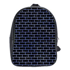 Brick1 Black Marble & Blue Watercolor School Bag (large) by trendistuff