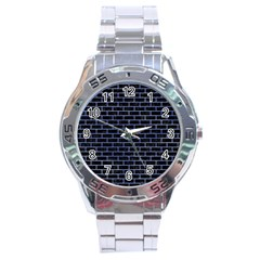 Brick1 Black Marble & Blue Watercolor Stainless Steel Analogue Watch by trendistuff