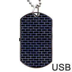 Brick1 Black Marble & Blue Watercolor Dog Tag Usb Flash (two Sides) by trendistuff