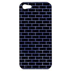 Brick1 Black Marble & Blue Watercolor Apple Iphone 5 Hardshell Case by trendistuff