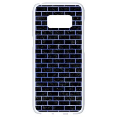 Brick1 Black Marble & Blue Watercolor Samsung Galaxy S8 White Seamless Case by trendistuff
