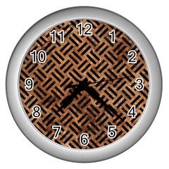 Woven2 Black Marble & Brown Stone (r) Wall Clock (silver) by trendistuff
