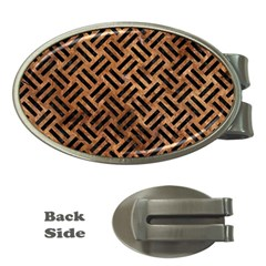 Woven2 Black Marble & Brown Stone (r) Money Clip (oval) by trendistuff