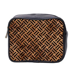 Woven2 Black Marble & Brown Stone (r) Mini Toiletries Bag (two Sides) by trendistuff