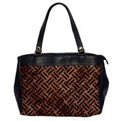 Woven2 Black Marble & Brown Stone (r) Oversize Office Handbag by trendistuff