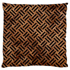 Woven2 Black Marble & Brown Stone (r) Large Cushion Case (two Sides)