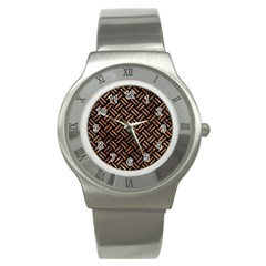 Woven2 Black Marble & Brown Stone Stainless Steel Watch by trendistuff