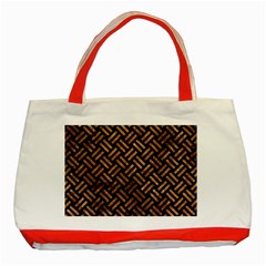 Woven2 Black Marble & Brown Stone Classic Tote Bag (red) by trendistuff