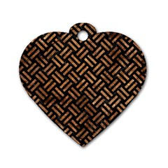 Woven2 Black Marble & Brown Stone Dog Tag Heart (one Side)