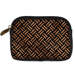 Woven2 Black Marble & Brown Stone Digital Camera Leather Case by trendistuff