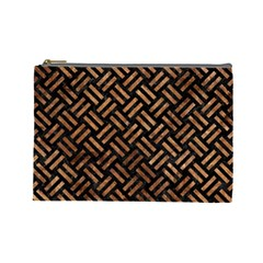 Woven2 Black Marble & Brown Stone Cosmetic Bag (large) by trendistuff