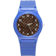 Woven2 Black Marble & Brown Stone Round Plastic Sport Watch (s) by trendistuff