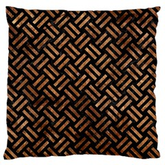 Woven2 Black Marble & Brown Stone Large Cushion Case (two Sides) by trendistuff