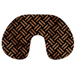 Woven2 Black Marble & Brown Stone Travel Neck Pillow by trendistuff