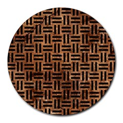 Woven1 Black Marble & Brown Stone (r) Round Mousepad by trendistuff