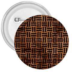 Woven1 Black Marble & Brown Stone (r) 3  Button by trendistuff