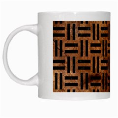 Woven1 Black Marble & Brown Stone (r) White Mug by trendistuff