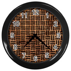 Woven1 Black Marble & Brown Stone (r) Wall Clock (black) by trendistuff