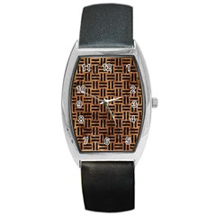 Woven1 Black Marble & Brown Stone (r) Barrel Style Metal Watch by trendistuff