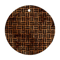 Woven1 Black Marble & Brown Stone (r) Round Ornament (two Sides) by trendistuff