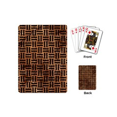 Woven1 Black Marble & Brown Stone (r) Playing Cards (mini) by trendistuff