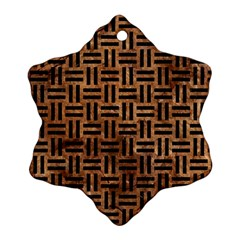 Woven1 Black Marble & Brown Stone (r) Snowflake Ornament (two Sides) by trendistuff