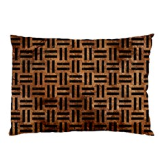 Woven1 Black Marble & Brown Stone (r) Pillow Case (two Sides) by trendistuff