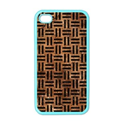 Woven1 Black Marble & Brown Stone (r) Apple Iphone 4 Case (color) by trendistuff