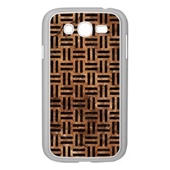 Woven1 Black Marble & Brown Stone (r) Samsung Galaxy Grand Duos I9082 Case (white) by trendistuff