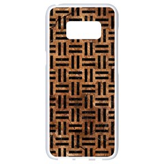 Woven1 Black Marble & Brown Stone (r) Samsung Galaxy S8 White Seamless Case by trendistuff
