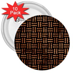 Woven1 Black Marble & Brown Stone 3  Button (10 Pack) by trendistuff