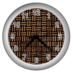 Woven1 Black Marble & Brown Stone Wall Clock (silver) by trendistuff