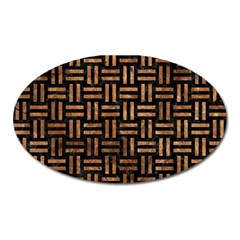 Woven1 Black Marble & Brown Stone Magnet (oval) by trendistuff